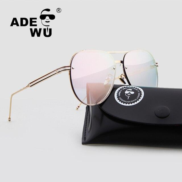 0d4b12bb5157 Adewu Clear Sunglasses Women Men Luxury Brand Designer Pink Transparent  Ladies Sun Glasses Tom Mirror aviator Eyewear With Case