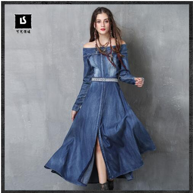 Brand Women s Dress 2019 Spring New Word Collar Embroidery Denim Dress Long sleeved Dress Fashion