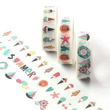 5M Cute grid, flower, Ice Cream Adhesive Washi Tape Single Sided Decorative Paper Masking Scrapbook DIY Card Sticker Tape стоимость