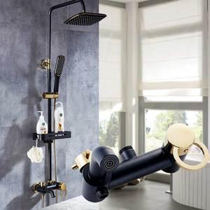Image 4 - Античный латунный смеситель для душа с дождевой насадкой, набор для ванной комнаты с одной ручкой, настенный смеситель для душа, смеситель для ванной комнаты, смеситель для душа
