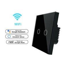 ЕС Стандартный Wi-Fi выключатель света Беспроводной Smart Switch 220 v приложение Управление настенный выключатель Alexa/google дома 1/2/3 Gang