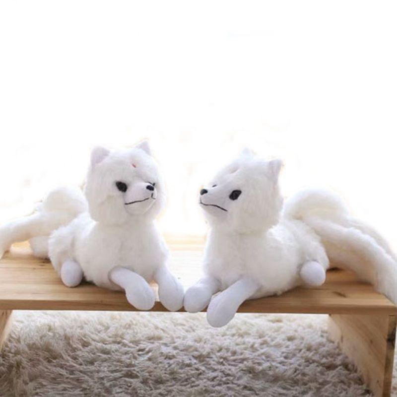 Cute fox plush toy nine-tailed white fox plush animal pillow home sofa decoration doll children comfort toy Christmas gift image