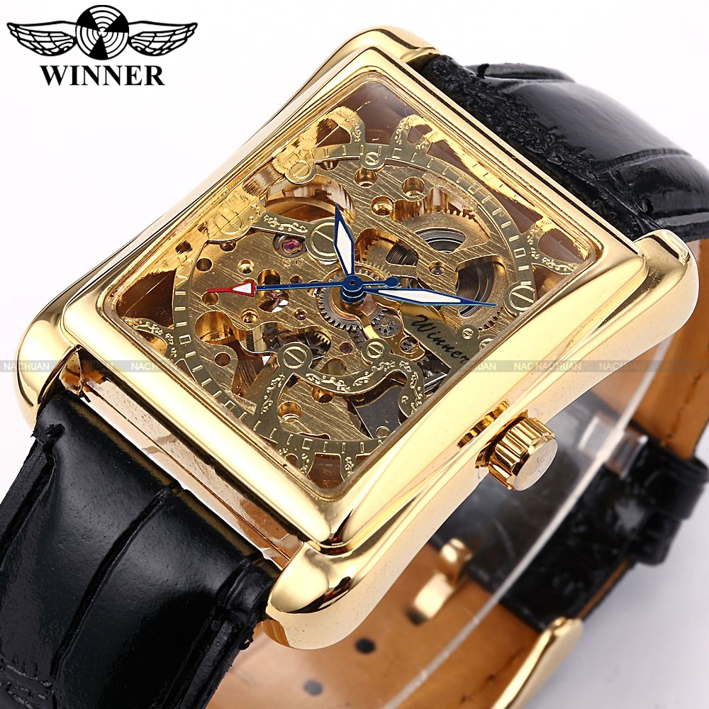 "Winner Skeleton Gold Watch Retro Designer Rectangle Black Leather Men Casual Watch Men Luxury Brand Automatic Mechanical Watch подставка для ноутбука 17"" zalman zm nc3 черная"