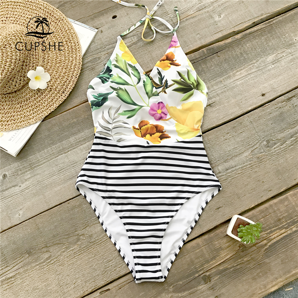 CUPSHE Flora Print And Striped Halter One-Piece Swimsuit Women V-neck Patchwork Mnokini 2019 Girl Beach Bathing Suit Swimwear