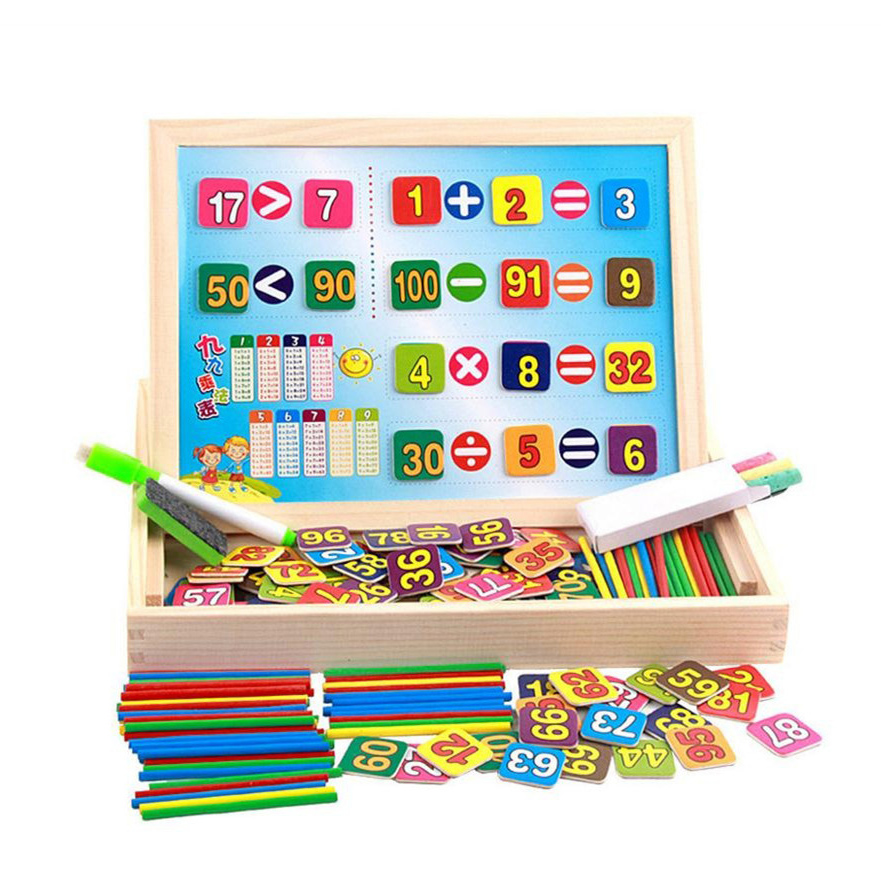 Chanycore Learning Educational Wooden Arithmetic Toys Box Digital Math Blocks Sticks Blackboard Whiteboard Kids Gifts 4016 chanycore baby learning educational wooden toys blocks jenga domino 102pcs mwz geometric shape montessori kids gifts 4149