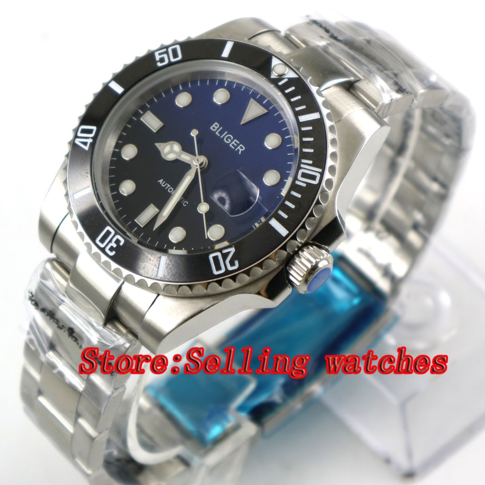 40mm Bliger black & blue Dial Sapphire Glass Stainless Steel black ceramic bezel Luminous Mens Automatic Mechanical Watch  p01940mm Bliger black & blue Dial Sapphire Glass Stainless Steel black ceramic bezel Luminous Mens Automatic Mechanical Watch  p019