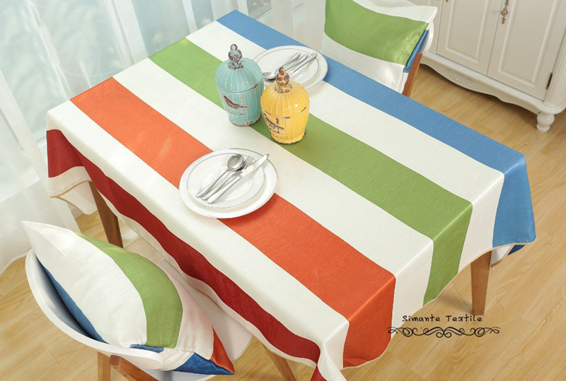 2016 Summer New Modern Colorful Striped Tablecloths Large Family Dining  Table Cloth Tablecloth Nappe De Table , Freee Shipping
