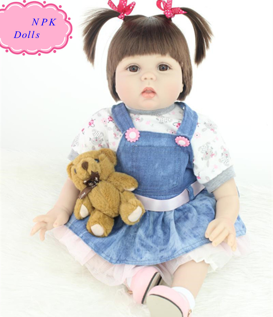22inch NPK Real Silicon Baby Dolls Cute Reborn-baby-dolls-for-sale Soft Real Doll Baby For Girl Lovely Gift Brinquedos For Child free shipping hot sale real silicon baby dolls 55cm 22inch npk brand lifelike lovely reborn dolls babies toys for children gift
