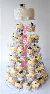 Présentoir de gâteau de mariage de tour de support de CUPCAKE acrylique clair de 7 niveaux affichage de douche de fête de bébé