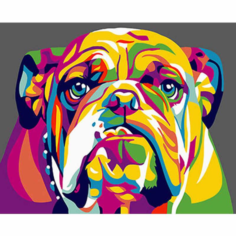 Colorido perro enmarcado imágenes DIY pintura por números DIY pintura al óleo en lienzo decoración del hogar pared arte GX26198 40X50 CM