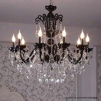 Modern Chandelier Lighting Led Black Glass Crystal Chandeliers Restaurant Bedroom Crystal Lamp Black Led Ceiling Chandelier
