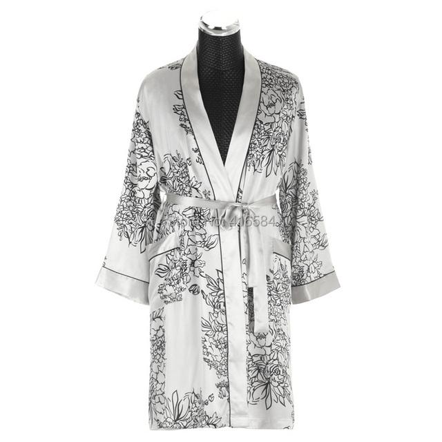 Kimono de seda de satén para hombre hombres albornoz bata Homme de manga larga de satén ropa de dormir M-XXL