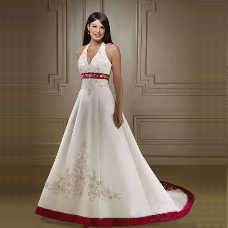 Halter White And Red Embroidery Wedding Dress 2019 Lace-up Wedding Gowns Bride Dress Vestido De Novia Robe De Soiree Vintage