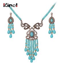 Kinel Luxury Vintage Wedding Jewelry Sets Antique Gold Crystal Tassel Necklace And Earrings For Women Ethnic Style Jewelry(China)