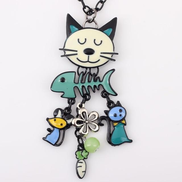 Cat Necklace Enamel Pendant
