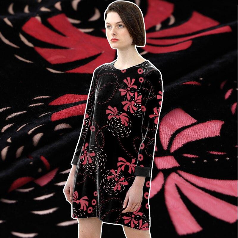 European And American Advanced Autumn Models Custom Hollow Burnt-out Velvet Fabric Silk Velvet Cheongsam Dress Fabric Velvet