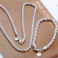 925 joyería de plata esterlina sets Enteros 925 simple multa cadena cuerda collar pulsera para hombres de las mujeres 925 sistemas de la joyería S051