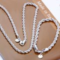 925 sterling silver jewelry sets & Stamped 925 simple fine rope chains necklace bracelet for women men's 925 jewelry sets S051