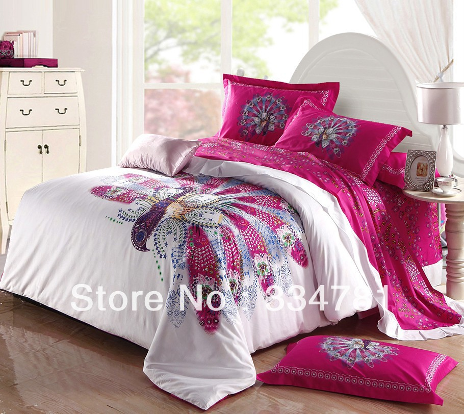 Hot Beautiful 100% Cotton 4pc Doona Duvet QUILT Cover Set bedding set Full / Queen King size colorful white Fuchsia peacock - jiagen chen's store