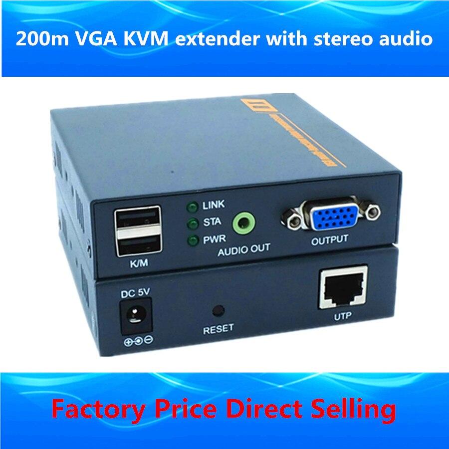 ZY-DT206CKM 660ft VGA KVM Sur IP Extender 1080 P USB VGA Vidéo extenseurs Émetteur Récepteur Avec 3.5mm Stéréo Audio Jusqu'à 200 m