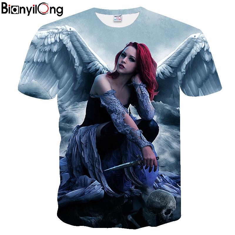 2018 men   t     shirt   Spirit Anime Water 3d Angel print   T     Shirt   Unisex-Adult Hipster 3D   T     Shirts   Street Hip Hop   t  -  shirt   Tops Tees