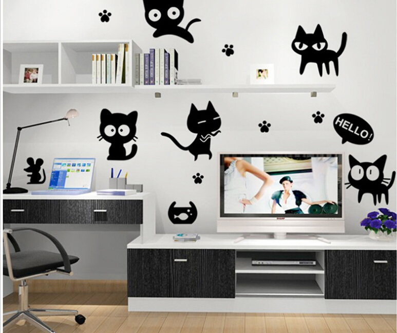 diy cartoon cute lovely black cat bedroom tv sofa background wall stickers home decor wall art - Cat Room Design Ideas
