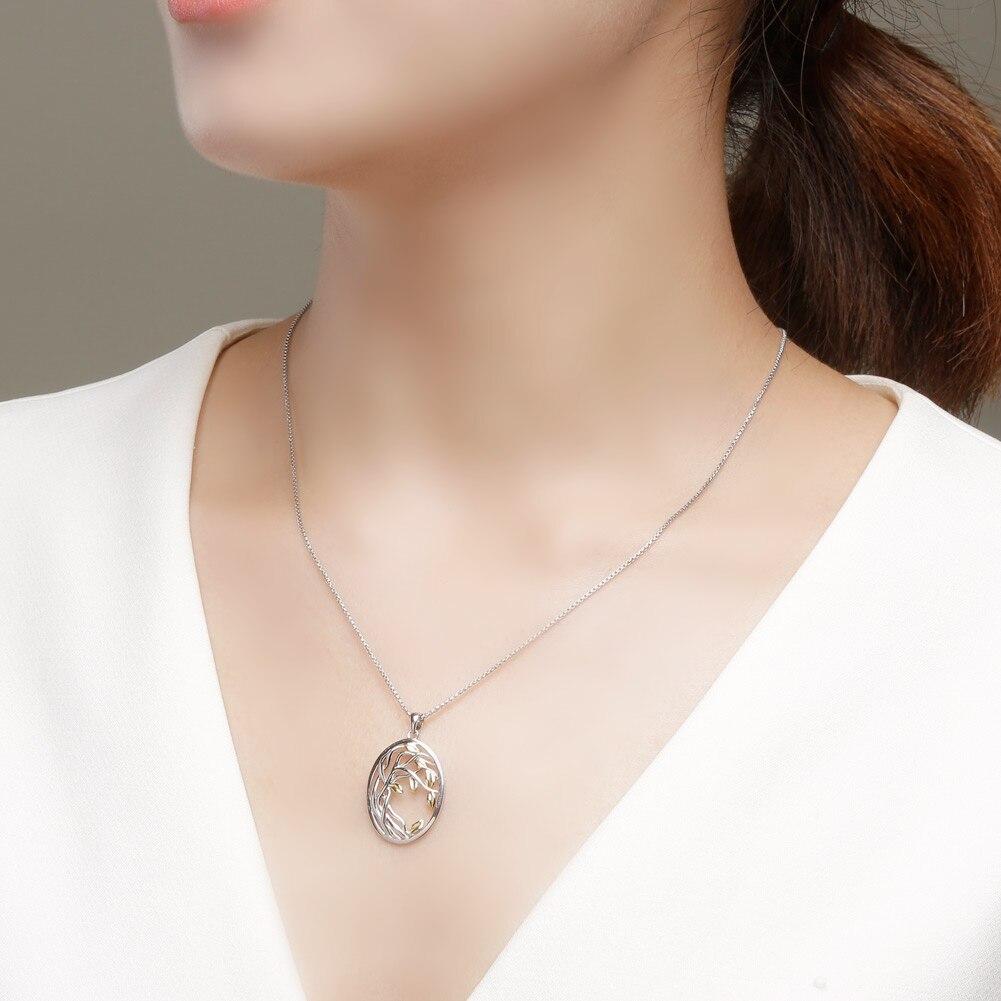 SA SILVERAGE 925 de plata de ley oro amarillo Color conjuntos de joyas para mujer, árbol de la vida colgante de plata collares pendientes conjuntos - 3