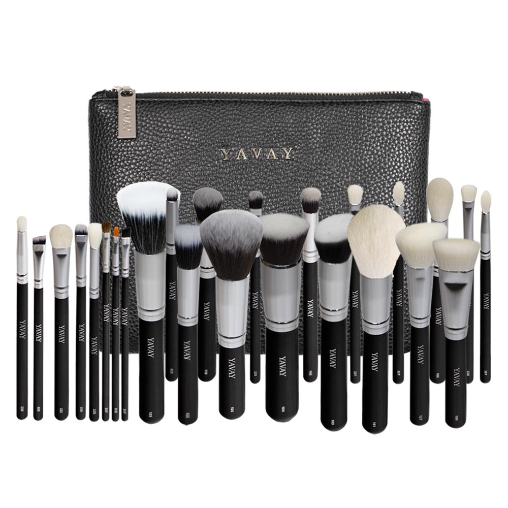 YAVAY 25pcs Professional Luxury Artist Makeup Brush Set Animal Hair And Synthetic Hair With PU Leather Case makeup brushes