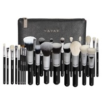 YAVAY 25pcs Professional Luxury Artist Makeup Brush Set Animal Hair And Synthetic Hair With PU Leather