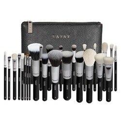 YAVAY 25pcs Originele Pro Luxe Kunstenaar Make-Up Borstel Set Geitenhaar Synthetisch Haar Cosmetica Borstels Met PU Lederen tas case