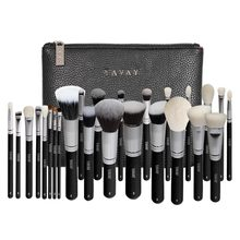 (Ship from US) YAVAY 25pcs Original Pro Luxury Artist Makeup Brush Set Goat Hair Synthetic Hair Cosmetics Brushes With PU Leather bag Case