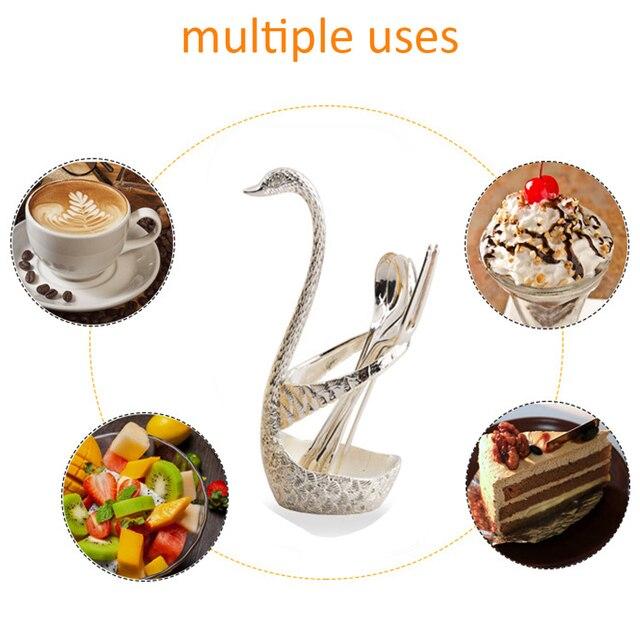 Fourchettes à salade en acier inoxydable | Base de fruits de cygne, ensemble de fourchettes à Dessert, cuillère à café gâteau vaisselle zéro déchet couverts 7 pièces