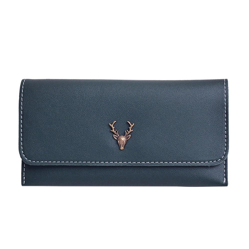 Women Solid Clutch Wallet Hasp Money Change Coin Purse Card Holder Daily Bag Envelope Handbag Reindeer porte monnaie femme