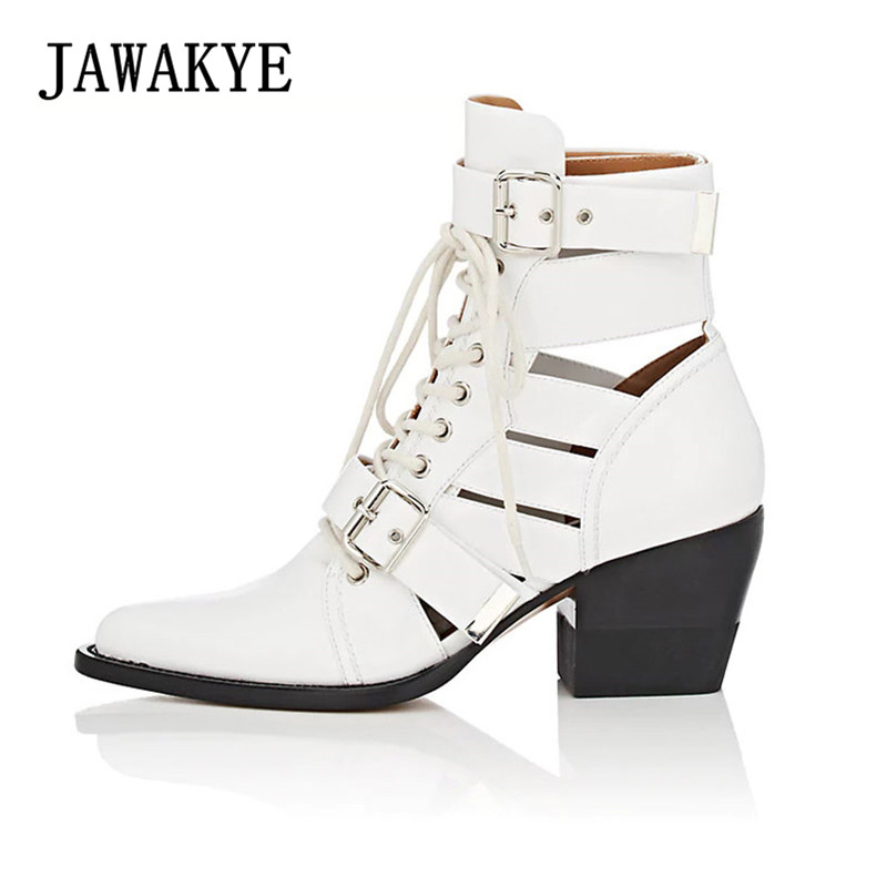 JAWAKYE Pointed Toe Studded Ankle Boots Women Chunky High heels Shoes Genuine Leather Summer Gladiator boots Motorcycle Boots jawakye round toe silver chains studded ankle boots women flat heel genuine leather winter shoes motocycle boots for women