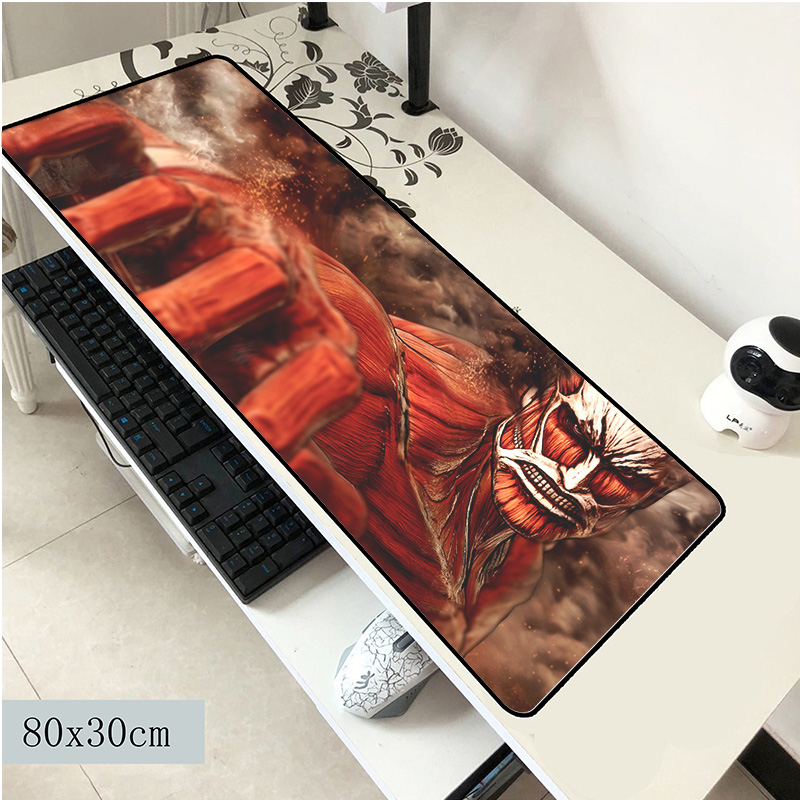 Attack On Titan Mouse Pad 800x300x3mm Mouse Mat Laptop Padmouse High-end Computer Locrkand Gaming Mousepad Gamer Play Mats