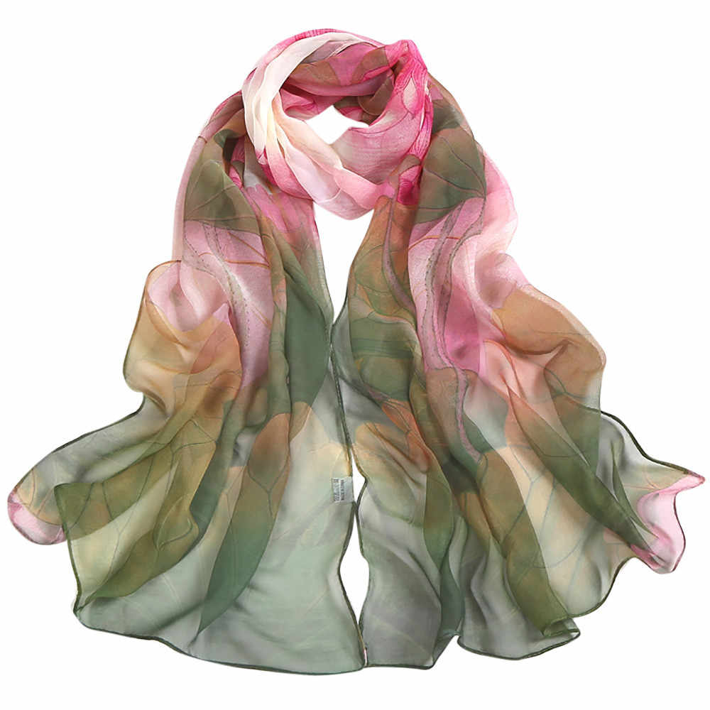 feitong 2018 New Women Chiffon Silk Scarfs Fashion Spring Square polyester Scarves Print flowers Shawl Summer Shawls #j2s