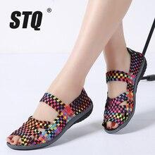 STQ 2020 가을 여성 플랫 샌들 신발 여성 짠 플랫 신발 숙 녀 멀티 컬러 슬립 샌들 여성 브랜드로 퍼 812