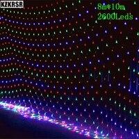 DHL Бесплатная 8 м * 10 м большой Net огни 2600 светодиодов сетка Декор фея строки лампы Мерцание Новогоднее праздничная Свадебная вечеринка освещ