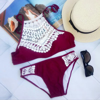 Black Wine Red Lace Cropped Swimsuit High Neck Tank Bathing Suit Beach Wear Swimming Suit For