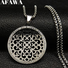 2019 Fashion Flower of Life Stainless Steel Necklace Women Silver Color Choker Jewelry acero inoxidable joyeria N77511B