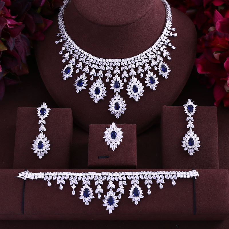 HTB10oOYXvfsK1RjSszbq6AqBXXae Green Blue Black Red cubic zirconia necklace drop earrings bracelet and ring 4pcs dubai wedding Bridal full jewelry set