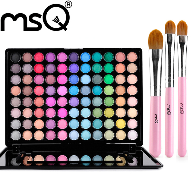 MSQ Professional 88Colors Matte Earthy Pearl Metallic Color Full Color Eyeshaw Palette Makeup with 3Pcs Makeup Brushes