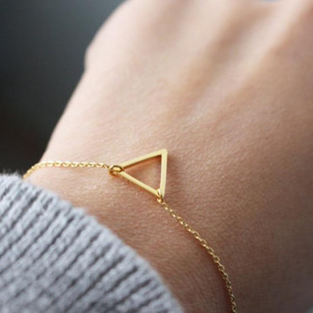 Trendy Handmade Triangle Bracelet Minimalist Gold Simple Delicate Geometric Jewelry For Women And