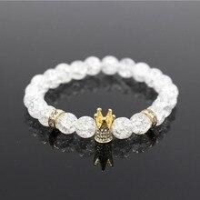 Micro Pave White CZ Gold Color King Crown Charm Bracelet Men Dull
