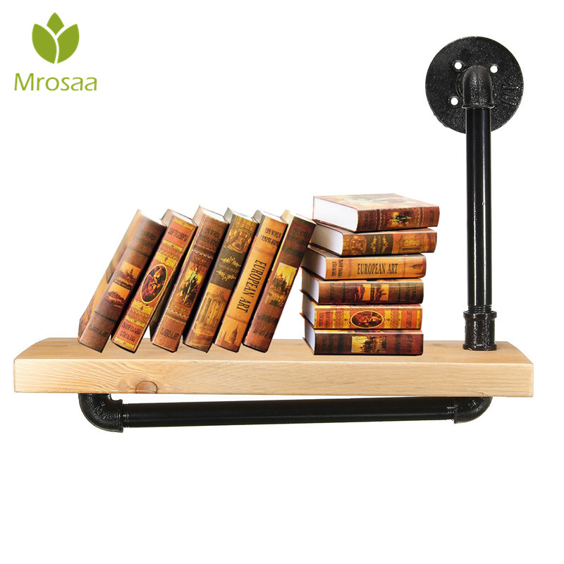 mrosaa bathroom shelves single layer iron pipe wooden shelf industrial rustic wall mount display. Black Bedroom Furniture Sets. Home Design Ideas