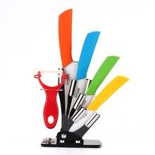 """Hochwertige Keramik 5 farbe kochen werkzeuge küchenmesser set 3 """"4"""" 5 """"6"""" zoll + Peeler + Acryl Halter block keramik schälmesser"""