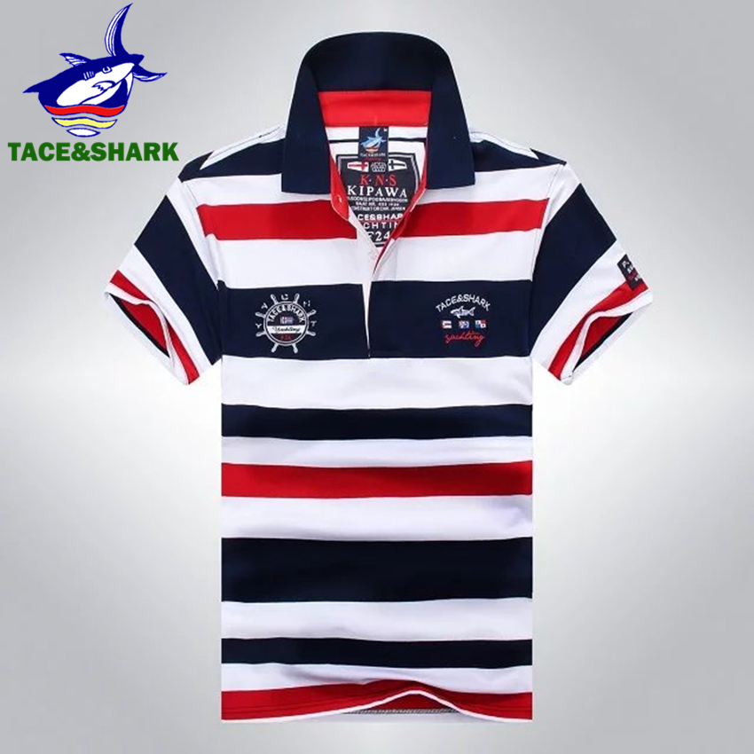 TACE&SHARK Brand High Quality Man Polo Homme Fashion Casual Stripe Embroidery Shirts Shark Slim Camisa Polos Mens Clothes 2018