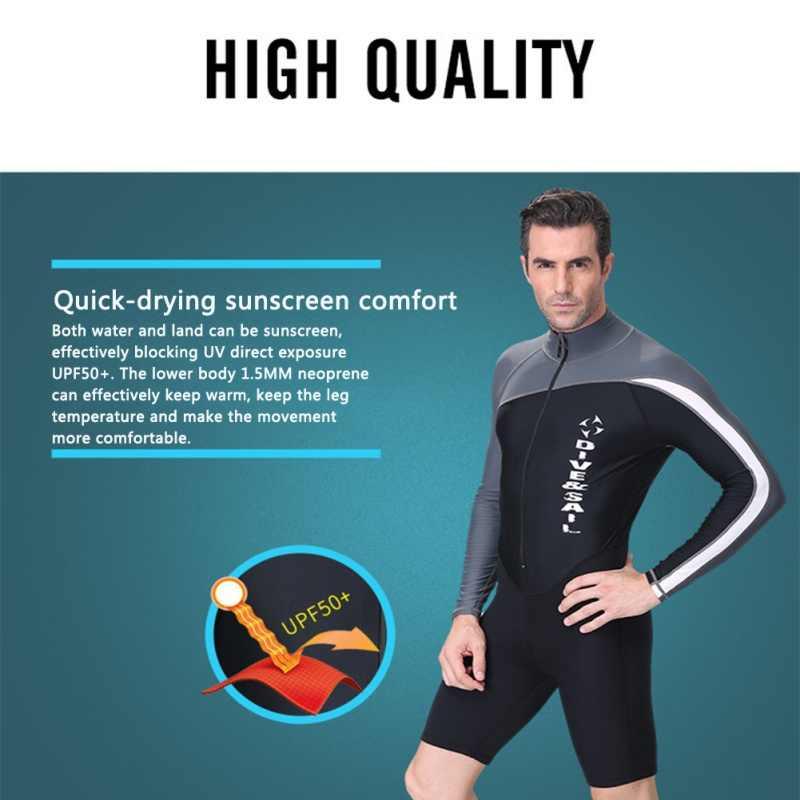 Pria dan Wanita \ Depan Baju Renang Surfing Renang Perlindungan Sesuai dengan Perlindungan Sinar UV Diving Panjang lengan Zipper
