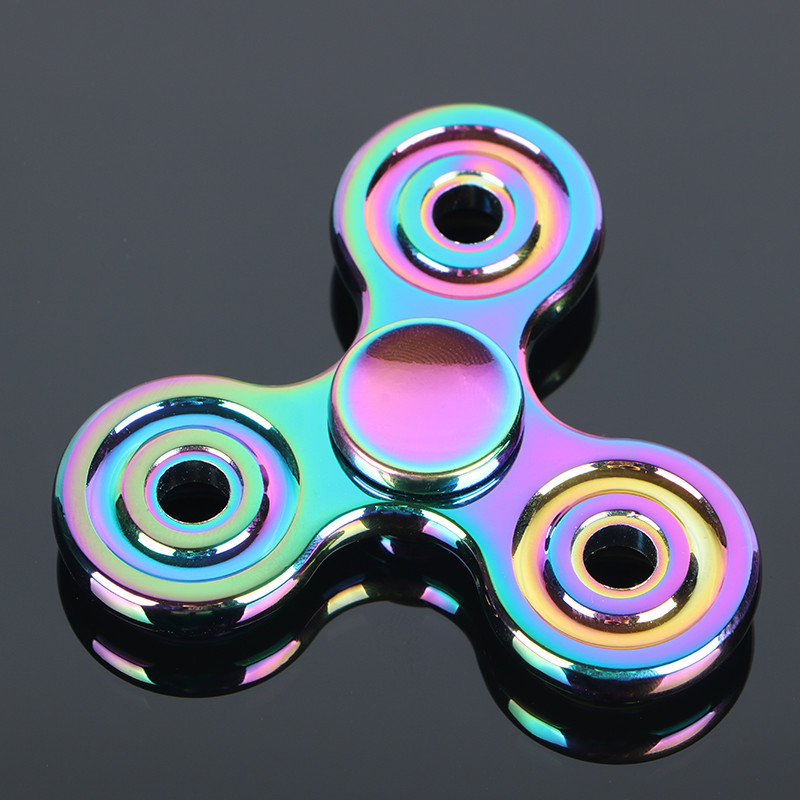 Colorful Circular Tri Spinner Fidget Toy metal Hand Spinner For Autism And ADHD Children Adults Focus