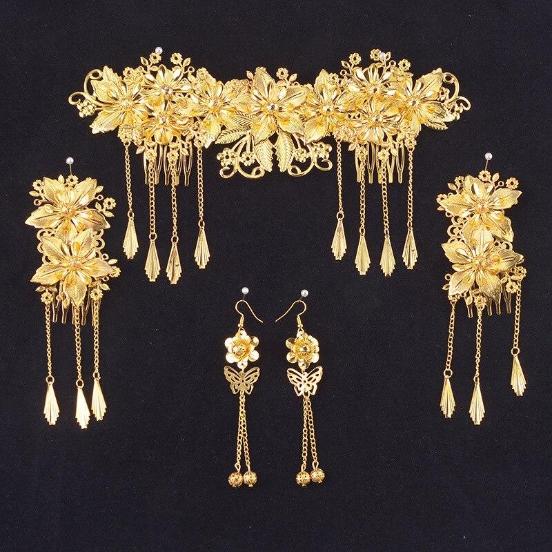 e3176d3b2528 JaneVini chino Oriental accesorios pelo de la boda del oro peinetas Set  Corona Metal frente joyería nupcial tocado en Joyería del pelo de Joyería y  ...